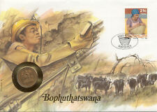 superbe enveloppe BOPHUTHATSWANA SOUTH AFRICA monnaie 2 CTS 1990 UNC NEW timbre