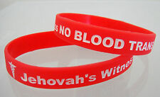 Jehovah's Witness NO BLOOD TRANSFUSIONS Medical Alert Red Wristband Bracelet