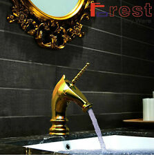 Luxury New Horse Style Gold Finish Bathroom  Brass Basin SInk Faucet Mixer Taps