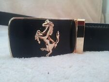 100% Mens Black Leather Belt with Gold Ferrari Automatic Buckle Strap  FREE POST