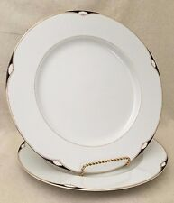 "2 Dinner Plates 11"" Mikasa Aegean L5587 White Lines Black Accent Panel Gold Trim"