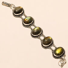 BEAUTIFUL LABRADORITE 925 STERLING SILVER PLATED GEMSTONE BRACELET JEWELERY