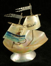 Antique 1800s French Mother of Pearl Egg Ship Sailboat Thimble Rings Holder
