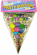 3.65mtrs HAPPY BIRTHDAY PARTY BUNTING BANNER SILVER FOIL PENNANTS DECORATION