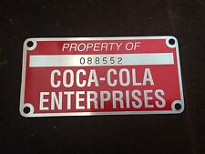 Vintage Coca Cola Machine Property Tag Aluminum NOS From Old Factory