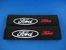 2 x Ford Seat Belt Shoulder Cover Pads EMBROIDERED LOGO soft fabric