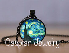 Fashion Starry Night by Vincent van Gogh Black Pendant Jewelry Necklace