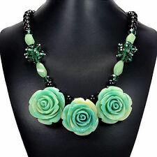 Turquoise Rose, Aventurine & Emerald Green Crystal Bib Necklace Handmade Jewelry
