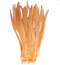 """25 pcs 16-18"""" long Peach Dyed Rooster COQUE tail Feathers for crafting, NEW"""