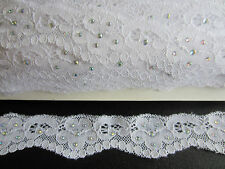 2M WHITE STRETCH LACE RIBBON TRIM WITH DIAMANTE 37MM WIDE