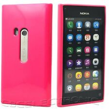 New Hot Pink Glossy Soft Rubber case back cover for Nokia N9