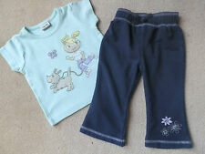 L@@KLovely BABY Girls OUTFIT - Bootleg Jogging Bottoms & Pretty T-Shirt 6-9 mths