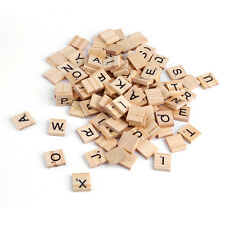 100 Wooden Alphabet Scrabble Tiles Black Letters & Numbers For Crafts Wood DT