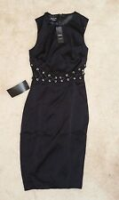 "Authentic Black BEBE ""Lace Up Detail Dress,"" 2 (NWT)"
