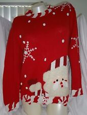 GUC Storybook Knits red Santa snowflakes pullover sweater S 55% Ramie 45% Cotton