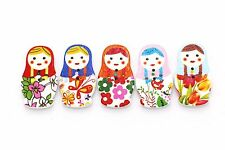 20 Floral Matryoshka Doll Wooden Button Flower Russian Babushka Nested Dolls