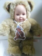 ANNE GEDDES TEDDY BEAR DRESSED DOLL RARE PINK EYES 15'' COLLECTIBLE BABY