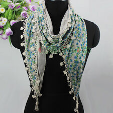 Womens Cute Flowers Print Cotton Cloth Stitching Heart Tassel Triangle Scarf New