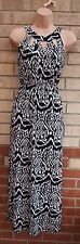 QED LONDON BLACK WHITE ABSTRACT ANIMAL CUT OUT NECKLINE LONG MAXI DRESS 10 S