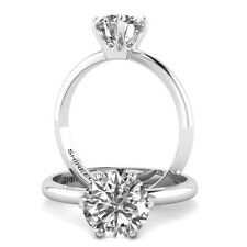 2 Carat Jewelry Round Cut Diamond Engagement Ring D/SI1 14K White Gold