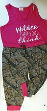 PAJAMA'S clothes for women 1X sleepwear pajamas set top pink and camouflage