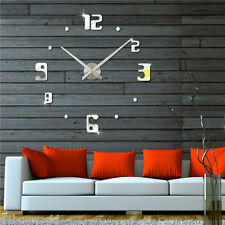 DIY Large 3D Mirror Wall Clock Modern Home Decoration Living Room Bedroom Silver