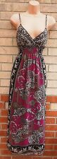 PINK BLACK BROWN STRAPPY CHIFFON LEOPARD PAISLEY GYPSY LONG MAXI DRESS 12 M