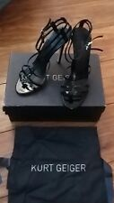 ladies Kurt Geiger Black Strappy High Heeled Shoes Black Patent  Size 5 RRP £210