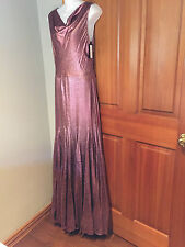 VERA WANG PURPLE/PINK  SLICK SLEEVELESS COWL NECK FULLY LINED GOWN sz 4  38