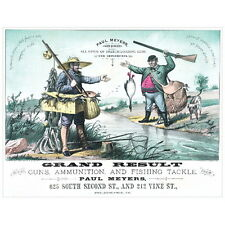 Grand Result Guns Ammunition Fishing Tackle Ad Poster Deco FRIDGE MAGNET, 1882
