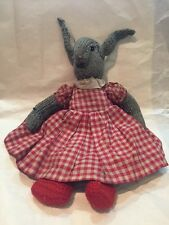 VINTAGE ANTIQUE KNITTED TOY RABBIT GINGHAM PATTERN DRESS