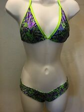 Exotic Dancer Scrunch Butt Booty Short And Tri Top Metallic Neon Green/purple