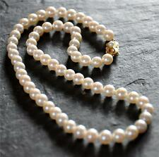 """Gorgeous Estate 18"""" Mikimoto Pearl Necklace 6.5mm - 6.9mm 18k 750 Yellow Gold"""