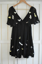 KATE MOSS for TOPSHOP Black Chiffon Butterfly Dress, UK 8, EU 36