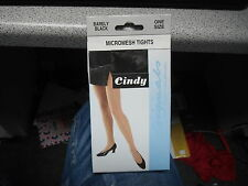 Cindy Barely Black One Size Micromesh Nylon Tights