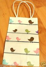 NEW LOT OF 10  Little Birdies Paper Shopping / Gift bags 5x3x8  HANDLES
