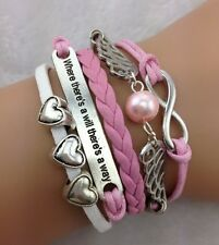NEW Hot Retro Infinity Heart Wing Pearl Leather Charm Bracelet plated Silver AA