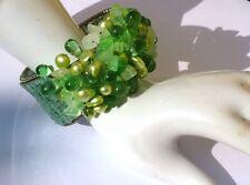 BIG BRIGHT GREEN PEARL BANGLE- Perlen Chrysopras breite Armspange verstellbar