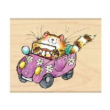 PENNY BLACK RUBBER STAMPS FLOWER POWERED CAT CAR 2011