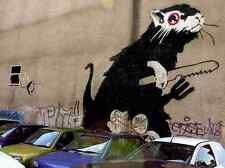 Banksy Rat With Knife Fork Wall A4 Sign Aluminium Metal