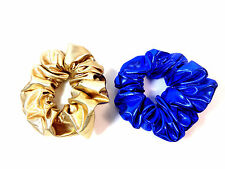 LADIES SET OF TWO METALLIC BLUE GOLD SCRUNCHIES NEW UNIQUE CONTRAST BOLD (CL7)