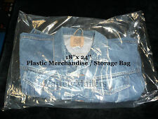 "100 EXTRA LARGE 18""x 24"" CLEAR FLAT PLASTIC MERCHANDISE / STORAGE BAGS 1.5MIL"