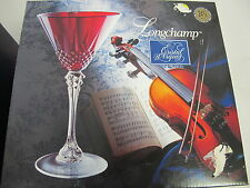 RED CRISTAL D'ARQUES  25TH ANNV. LONGCHAMP COCKTAIL GOBLETS STEMWARE NEW IN BOX