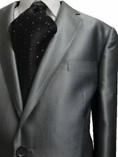 G. FIORELLI 2B MEN'S SUIT SHINY SILVER SHARKSKIN 40R 40 R FREE SHIP & TIE