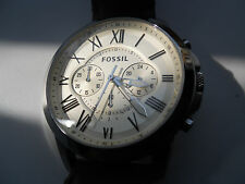 Fossil mens chronograph leather band.Quartz,battery and water resistant.Fs-4735