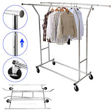 Commercial Double Garment Rack Hanger Holder Grade Collapsible Clothing Rolling