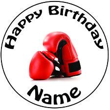 """Cumpleaños Personalizado Guantes De Boxeo Redondo 8"""" fácil Precortada Glaseado Cake Topper"""