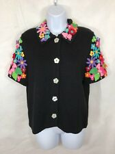 VTG Michael Simon Womens Cropped Black Short Sleeve Floral Cardigan Sweater Sz L