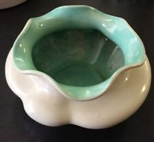 "Vintage Red Wing Art Pottery bowl. Cream W/Aqua Interior ...Approx 4 1/2"" Tall"