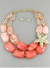 TWO LAYERS MULTI CORAL LUCITE BEAD GOLD TONE SIDE STARFISH NECKLACE EARRING